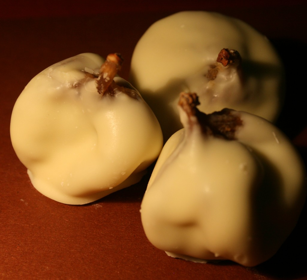 chocolate coated figs filled with marzipan