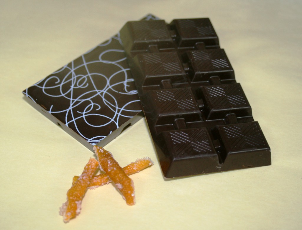 Dark Chocolate with Marzipan and Orange Peels